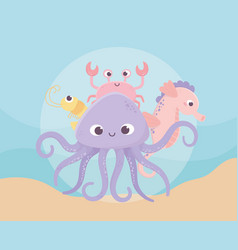octopus seahorse crab and shrimp life cartoon vector image
