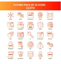 Orange futuro 25 gdpr icon set vector