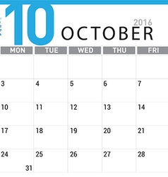 planning calendar October 2016 vector image