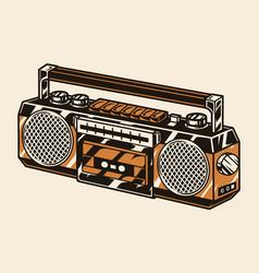 retro portable audio cassette recorder vector image