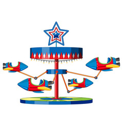 Rocket ride at fun fair on white background vector