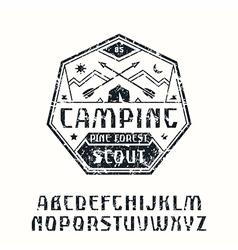 Rustic sanserif font and camping emblem vector