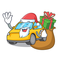 Santa with gift taxi character mascot style vector