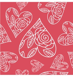 seamless pattern with heart and flowers vector image
