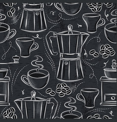 Seamless patterns of coffee set vector
