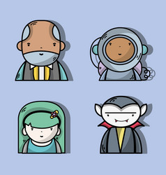 Set businessman with astronaut and vampiere vector