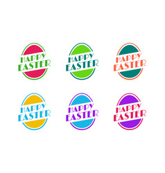 set of easter egg greeting sticker vector image