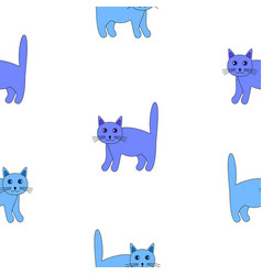 set of funny blue cats vector image