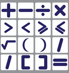 set of icons with mathematical symbols vector image