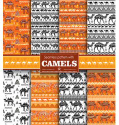 set seamless pattern with camels vector image