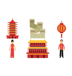 set with chinese culture vector image