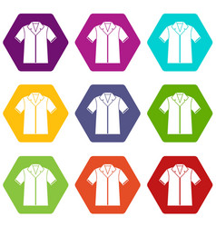 shirt polo icon set color hexahedron vector image