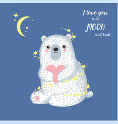 Sketch winter white bear with heart moon and back vector