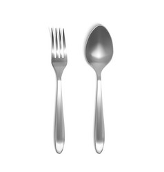 spoon and fork 3d vector image