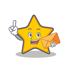 Star character cartoon style with envelope vector