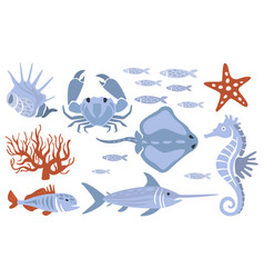 stylized underwater nature set of icons vector image