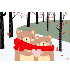 teddy bear couple in spring forest vector image