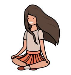 Teenager girl sitting avatar character vector