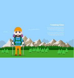 trekking time concept banner vector image
