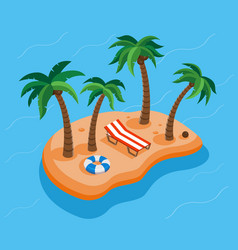 Tropical island with beach and palm tree summer vector