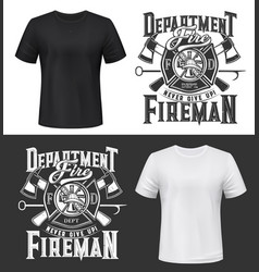 tshirt print with firefighters helmet ax ladder vector image