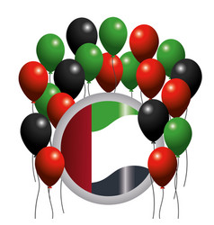 Uae flag emblem with balloons to national day vector