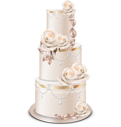 Wedding cake golden decorations and rose flowers vector