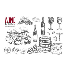wine set hand drawn 2 vector image