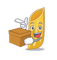 With box penne pasta character cartoon vector
