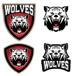 Wolves sport team logo template Mascot vector