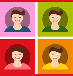 Young handsome men with various hairstyle vector
