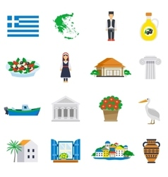 Flat Icon Set Greece vector image