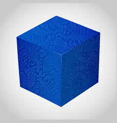 three-dimensional box circuit board stile vector image