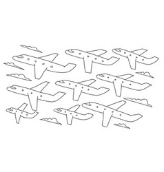 Hand-drawn sketch lanes fly air flights airline vector