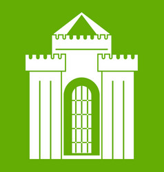 medieval palace icon green vector image vector image