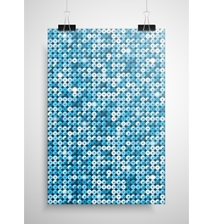 Blue sequin poster on the wall Eps 10 vector image