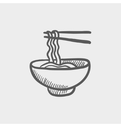 Bowl of noodles with a pair chopsticks sketch icon vector image