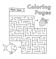 cartoon fish maze game vector image vector image