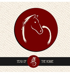 Chinese new year of the Horse red circle shape vector image