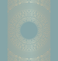 golden round floral pattern on green blue color vector image