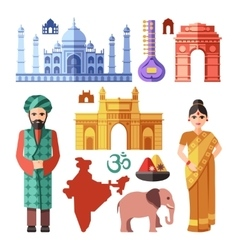 India flat icons with national landmarks vector image vector image