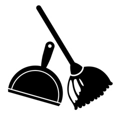 broom and dustpan icon vector image
