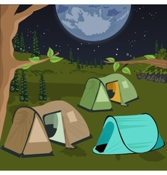 camping at night with tents vector image vector image