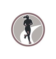 Female Marathon Runner Run Retro vector image vector image