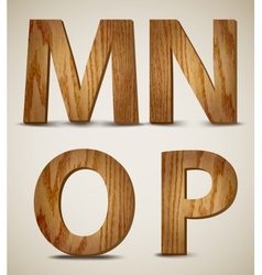 Grunge Wooden Alphabet Letters M N O P vector image vector image