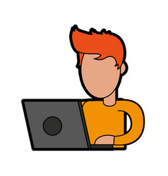 Person using laptop computer icon image vector