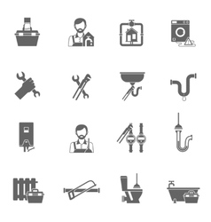 Plumber Icons Black vector image vector image