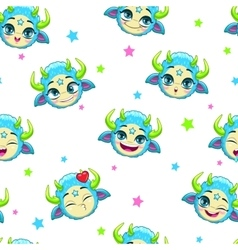 Seamless pattern with funny blue monster faces vector image vector image