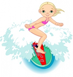 surfer girl in action vector image