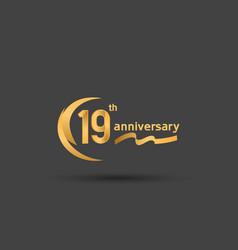 19 years anniversary logotype with double swoosh vector